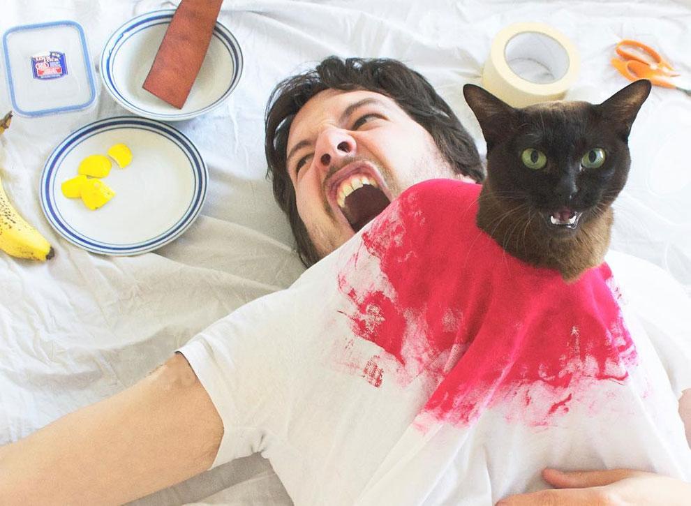 Film sahneleri kedi ve sahibiyle yeniden hayat buldu