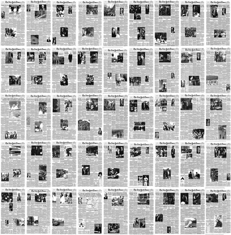 NYT'ın tüm birinci sayfaları bir arada