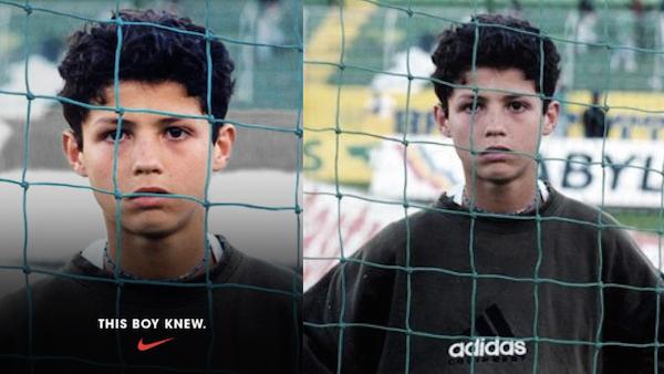 Ronaldo'lu Nike kampanyasında Adidas'a sansür