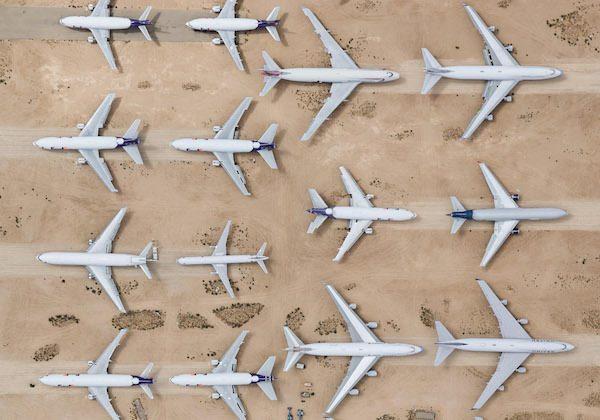 Havalimanındaki simetrinin kuş bakışı fotoğrafları çekildi