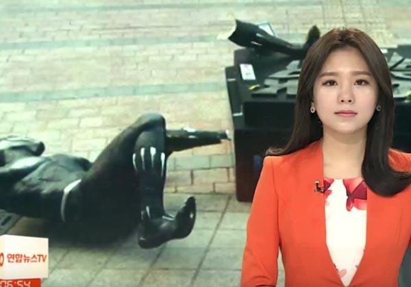Güney Kore'de biri Black Panther heykelini yıkmış