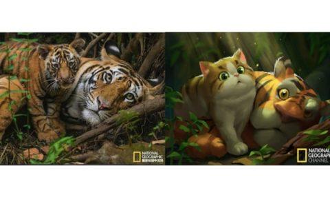 National Geographic fotoğrafları tatlı çizimlerle yeniden canlanıyor